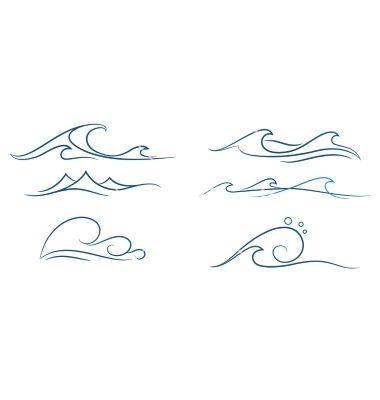 Simple Waves Set Vector On Vectorstock Ink Tattoos Ocean