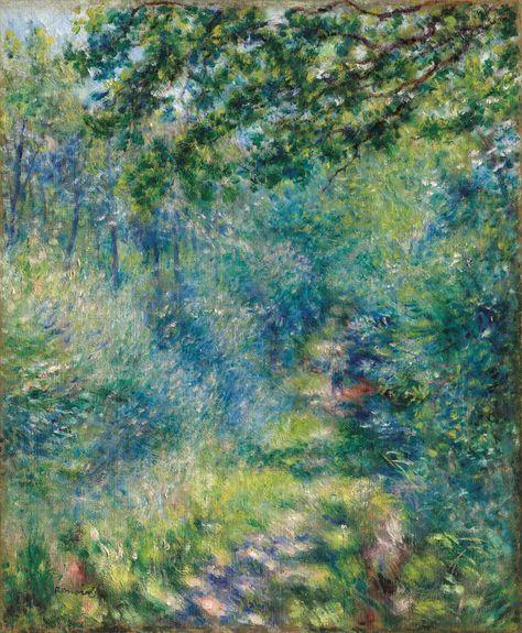"art-from-me-to-you: ""Pierre-Auguste Renoir, Path in the Wood, Oil on canvas "" Cezanne Art, Paul Cezanne Paintings, Matisse Paintings, Renoir Paintings, Landscape Paintings, Van Gogh Landscapes, Pierre Auguste Renoir, Edouard Manet, Claude Monet"
