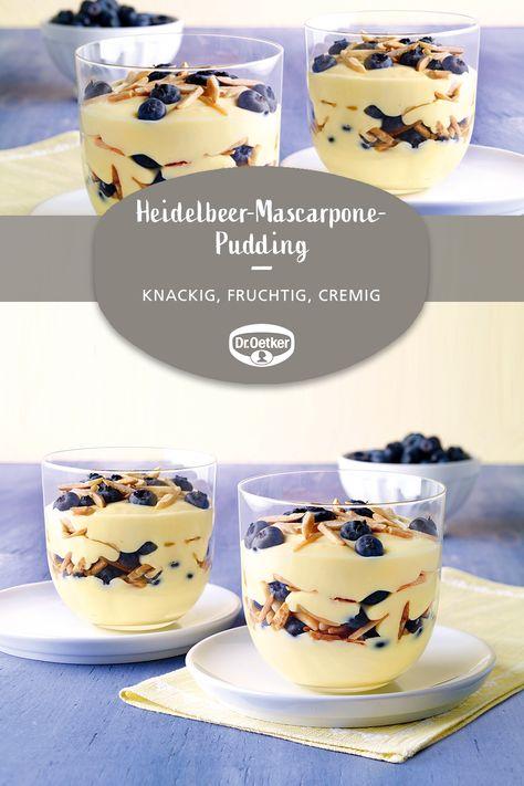 Heidelbeer-Mascarpone-Pudding: Pudding trifft auf Mascarpone, Blaubeeren und Mandeln #nachtisch #dessert #blueberries