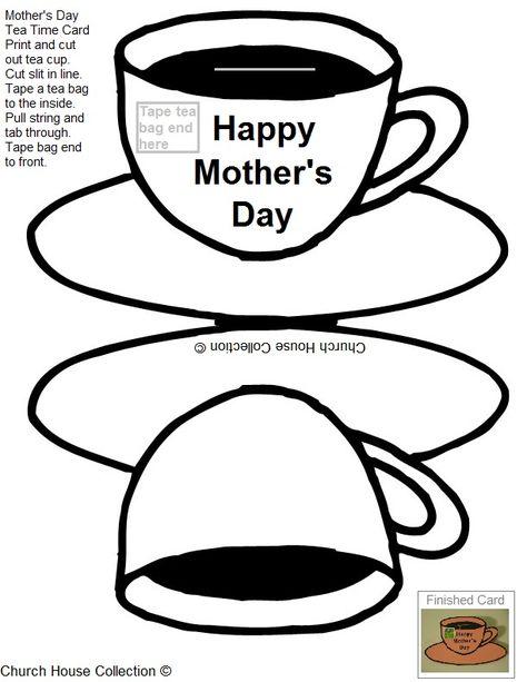 Printable Mothers Day Teapot Card Template Mother Day Craft Tea Bag ...