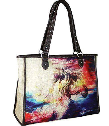 5a456d271f24 Montana West Horse Painting Western Canvas Tote Craft Beach Travel ...