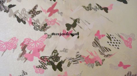 Beautiful butterfly mobile with zebra polka dots by marjendesigns