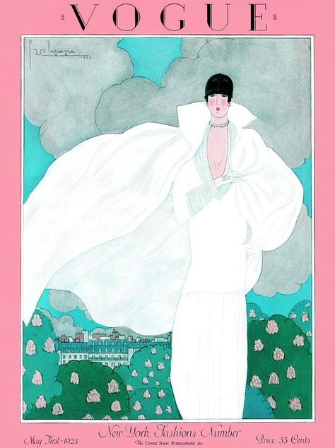 Vintage Illustrations Vogue Cover - May 1925 Poster Print by Georges Lepape at the Condé Nast Collection - A Vintage Vogue Magazine Cover Of A Woman by Georges Lepape