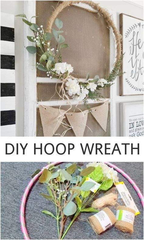 """DIY Hoop Wreath, Home Decor, Hello! Have you spotted these """"hoop wreaths"""" popping up all over the internet and around town? I started noticing them last year, when some of my . Home Decor Store, Cheap Home Decor, Diy Home Decor, Home Craft Ideas, Homemade Home Decor, Home Decor Accessories, Decorative Accessories, Deco Floral, Floral Wall"""