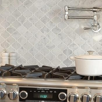 Gray Marble Arabesque Cooktop Backsplash Tiles Arabesque Tile