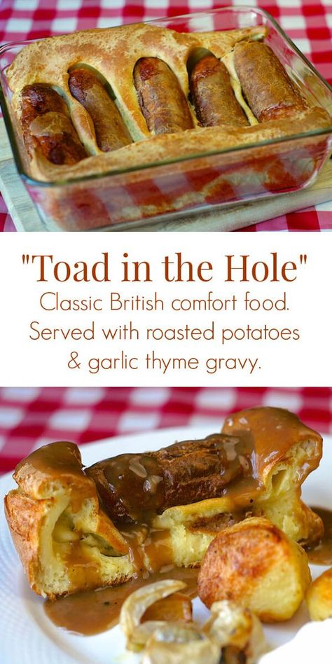 Toad in the Hole - a great British comfort food meal, your family will love! Toad in the Hole. A much loved British comfort food dish comprised of sausages and Yorkshire Pudding. I love to serve it with roast potatoes and gravy. Pork Recipes, Cooking Recipes, Thai Recipes, Asian Recipes, Mexican Food Recipes, Healthy Recipes, Asian Desserts, Cooking Games, Vegetarian Cooking