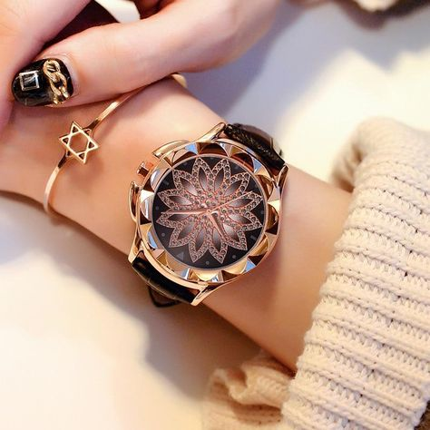 Cheap watch brand, Buy Quality watch ladies directly from China watch ladies brand Suppliers: 2017 Women Rhinestone Watches Lady Rotation Dress Watch brand Real Leather Band Big Dial Bracelet Wristwatch Crystal Watch