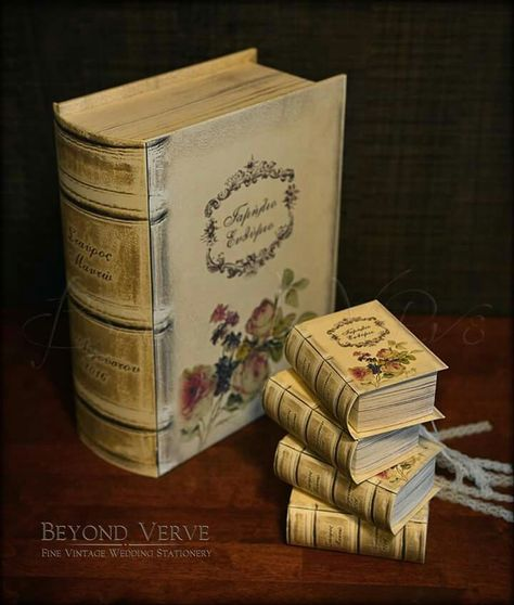 Vintage antique book boxes favor boxes floral flowers - Wedding stationery