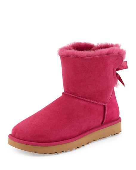 b8ca31838d5 WOMENS UGG AUSTRALIA Boots Mini Bailey Bow II Pink Fur Lining Ankle ...