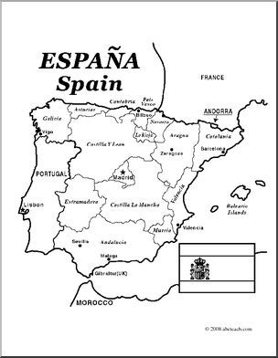 Clip Art Spain Map Coloring Page Labeled I Abcteach Com Abcteach Spain Spain History Coloring Pages