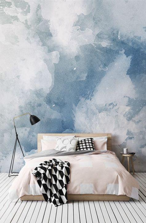 Verlieben Sie sich in dieses Aquarell-Tapeten-Design. Wunderschöne Farbtupfer in Blau sorgen für ein