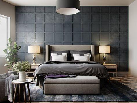 arredamento-camera-da-letto-stile-contemporaneo-grigio ...