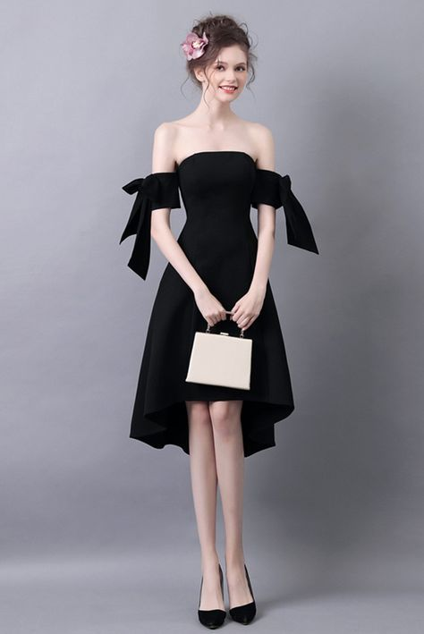 64d81785fc419 High Low Slim Black Prom Dress With Off The Shoulder Straps ...