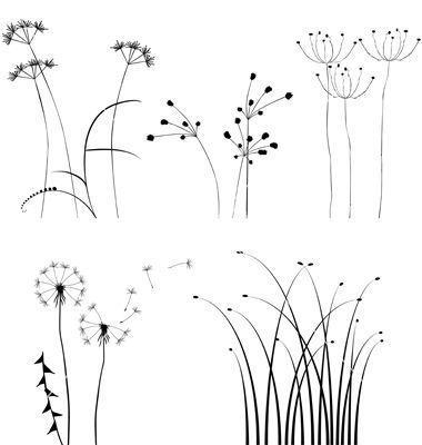 black and white plant silhouettes set vector flowers silhou flower drawing doodles doodle art vektordatei erstellen photoshop kreuz vektor