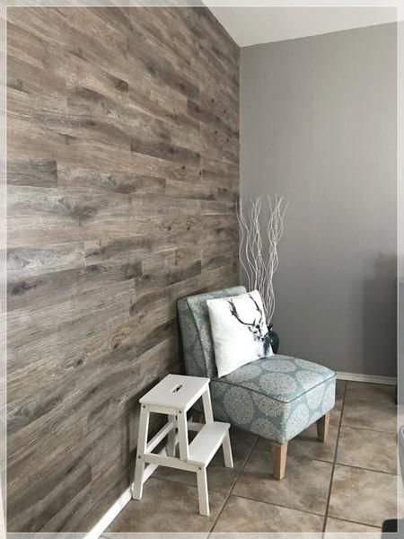 The Easiest Way To Diy Wood Plank Ship Lap Accent Wall With Vinyl Flooring Plank Wall Bedroom Flooring On Walls Wood Plank Walls
