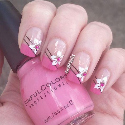 Spring Floral Nails Flower Nails Simple Spring Nails Spring Nail Colors Short Spring Nails Acrylic Nail Nagelideen Franzosische Manikure Nagel Nageldesign