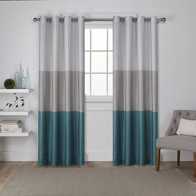 Rodney Striped Semi Sheer Grommet Curtain Panels Curtain Color