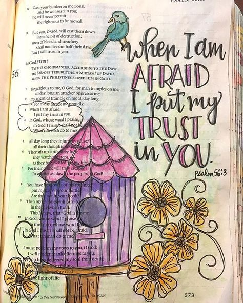In God we trust. Psalm 56:3. (I learned a couple new techniques from @goosekeeperdesigns periscope today!). #ilovecrinklypages #bibleartjournaling #biblejournaling #ipaintinmybible #christiancreative #communityofchristiancreatives #imprintedheart #ASbiblejournaling