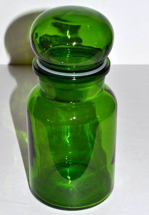 Belgium Sweetmeat Or Apothecary Green Glass Jar Glass Jars