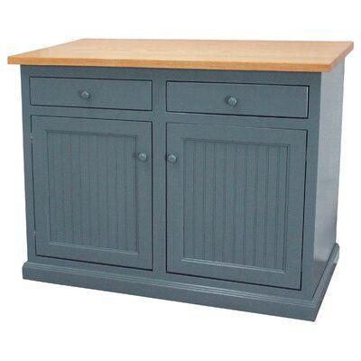 August Grove Avendano Kitchen Island In 2021 Kitchen Island Base Blue Kitchen Island Blue Gray Kitchen Cabinets