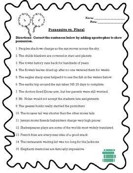 Plural Vs Possessive Apostrophe Worksheet Plurals Possessive