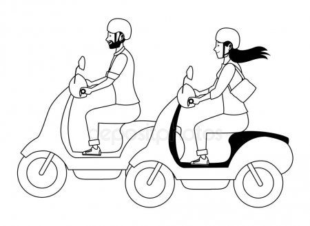 People Riding Scooters Motorcycles Cartoon In Black And White Stock Vec Ad Scooters Motorcycles People Riding Scooters Scooter Motorcycle Scooter