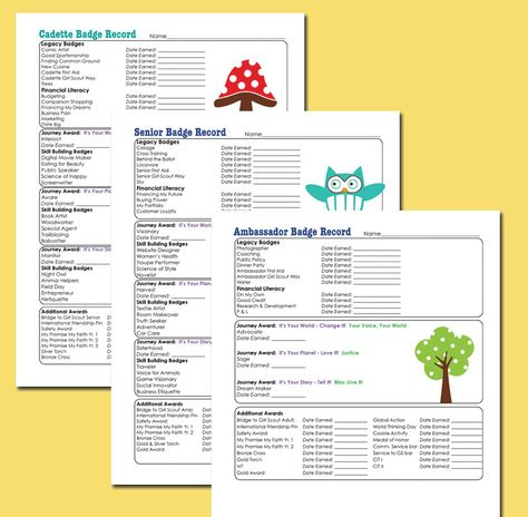 Badge Tracker For All Gs Levels Girl Scout Leader Girl Scout