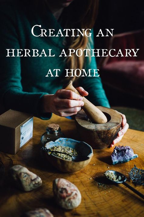 Herbal Medicine Creating an Herbal Apothecary at Home - Walking into an herb shop is like walking into a magical wonderland. I love the way it smells, the collection of curious labels and recipe books, and the endless line of herb packed jars sitting atop Natural Health Remedies, Natural Cures, Natural Healing, Herbal Remedies, Natural Treatments, Natural Oil, Natural Foods, Cold Remedies, Natural Beauty