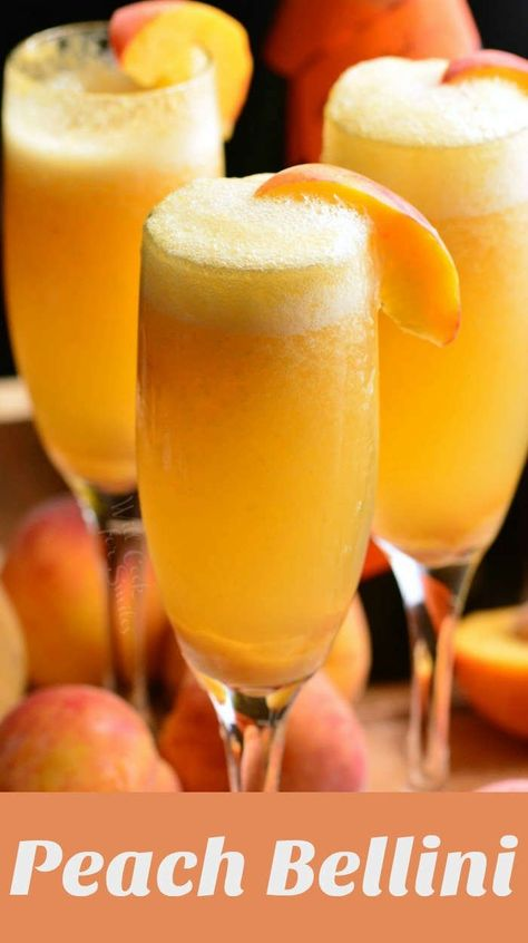This Peach Bellini is an easy and refreshing cocktail made with fresh peach puree, a little honey for sweetness, and Prosecco. Bellini Cocktail, Prosecco Cocktails, Refreshing Cocktails, Summer Drinks, Cocktail Drinks, Sweet Cocktails, Mix Drinks, Drink Recipes, Cocktails