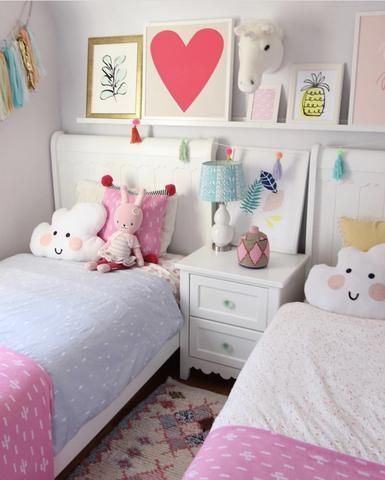 Shared bedroom for girls, twin girl bedroom ideas, toddler ...