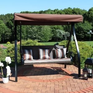Leisure Season Patio Swing Bed With Canopy Sbwc402 The Home Depot In 2020 Sunnydaze Decor Porch Swing Patio Swing