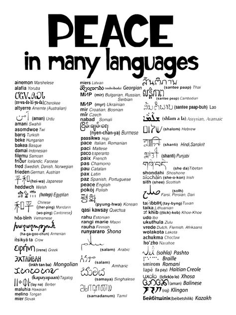 Peace in many languages peace pinterest peace language and peace in many languages peace pinterest peace language and wise words stopboris Image collections