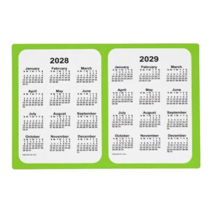 2028 2029 Yellow Green 2 Year Calendar By Janz Placemat Zazzle