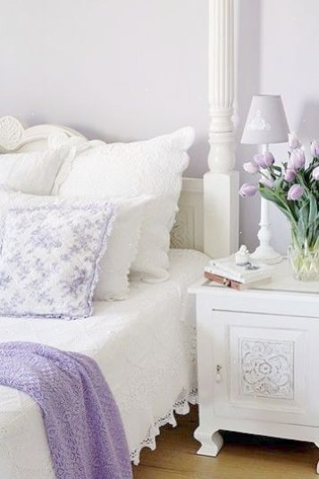 White And Lilac Shabby Chic Bedroom Love The Detail On The Night