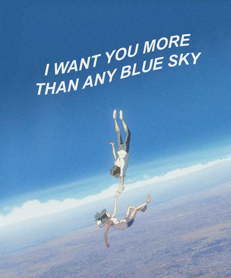 Weathering With You / Tenki No Ko I want you more than any blue sky scene quote Aesthetic Wallpaper