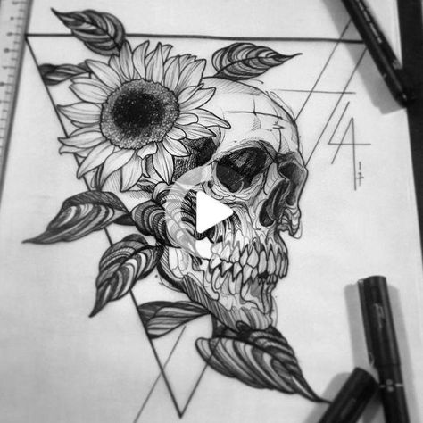 Skull tattoos vorlage ; schädel tattoos vorlage ; crâne tatouages vorlage ; tatuajes de #flowertattoos #tattoosforwomen