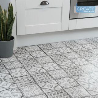 30 5cm X 30 5cm D C Floor Moroccan Grey Self Adhesive Vinyl Floor