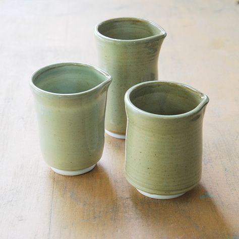 ceramics and pottery, kitchen, home decor, decoration, pale green, green, pitcher, three, no handle, ceramic, clay, porcelain, vase, emt etsy mud team, ceramicpix,