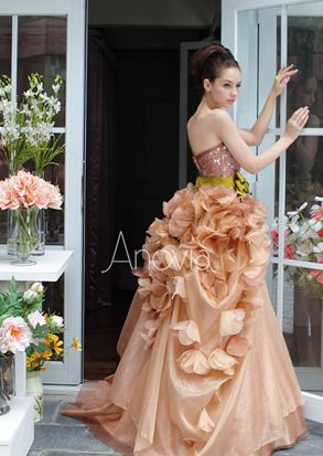 Amazing Soft honeyb strapless ball gown decorated with floral appliques Anovia Bridal Couture Rental Custom made Wedding gown uEvening dresses uKua uTuxedo