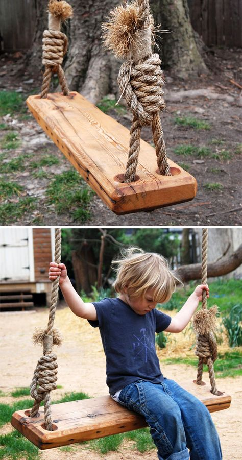 My daughter would love this! :: Re-purposed pine floor joist from a 19th-century house becomes the perfect swing.