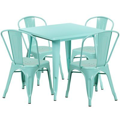 Williston Forge Betsey 5 Piece Dining Set Finish Mint Green Outdoor Table Settings Flash Furniture Outdoor Bistro Set