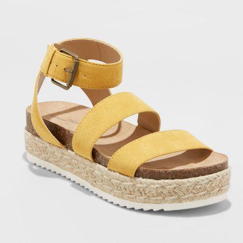 77fb18e7468e Women s Agnes Wide Width Espadrille Sandals - Universal Thread Yellow 7W
