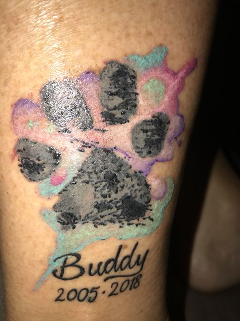 Amazing job by Erin at Evermore Tattoo Parlour. Paw print memorial ...