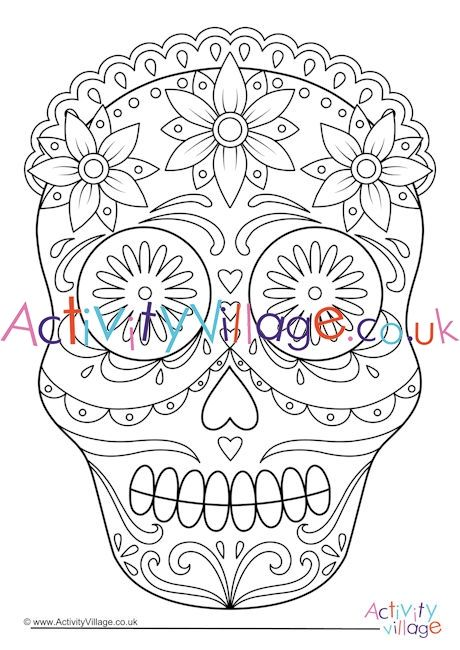 Day Of The Dead Calavera Colouring Page 5 Coloring Pages Day Of