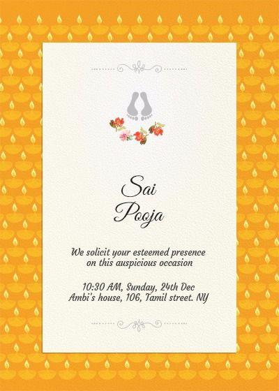 Sai Pooja Invitation House Warming Invitations Online Invitation Card Housewarming Invitation Cards
