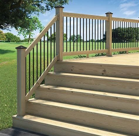 The Deck Railing Design You Picked For Your Brand New Deck Is The Piece De Resistance Of The Project Safety Deck Railing Kits Deck Railings Wood Deck Railing