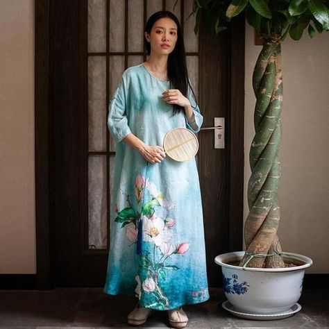 cbc4c533289 Simple yet bold this maxi dress will wow while keeping you comfortable.  It s calming blue color and length allows one to relax while its floral  print and ...