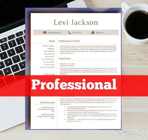Modern 1 page resume by Chic templates on @creativemarket - 1 page resume