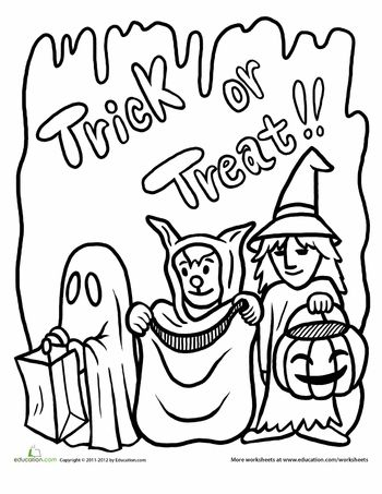 Trick Or Treat Coloring Page Halloween Coloring Sheets