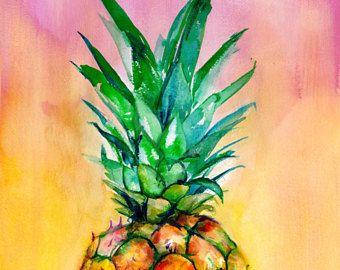 Ombre Ananas Art Print Tropical Aquarelle Jaune Rose Chaud